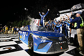 Monster Energy NASCAR Cup Series<br /> Go Bowling 400<br /> Kansas Speedway, Kansas City, KS USA<br /> Saturday 13 May 2017<br /> Martin Truex Jr, Furniture Row Racing, Auto-Owners Insurance Toyota Camry celebration<br /> World Copyright: Barry Cantrell<br /> LAT Images<br /> ref: Digital Image 17KAN1bc4826
