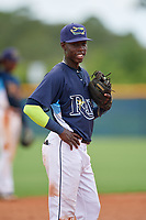 GCL Rays Luis Arcendo (3) during a Gulf Coast League game against the GCL Pirates on August 7, 2019 at Charlotte Sports Park in Port Charlotte, Florida.  GCL Rays defeated the GCL Pirates 5-3 in the second game of a doubleheader.  (Mike Janes/Four Seam Images)