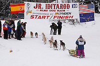 Sunday February 28, 2010  Kaye Berg crosses the finish line on Willow lake to finish in 10th place during the 2010 Junior Iditarod . Willow , AK