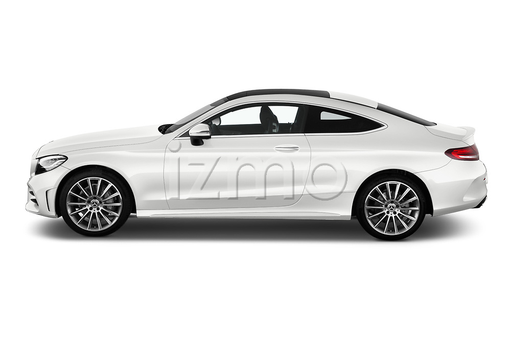 Car Driver side profile view of a 2019 Mercedes Benz C-Class AMG-Line 2 Door Coupe Side View