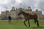 Badminton Horse Trials Gloucestershire UK. Badminton House, competitor exercises his horse in front of the house.