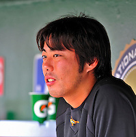 24 May 2009: Baltimore Orioles' starting pitcher Koji Uehara watches play from the dugout during a game against the Washington Nationals at Nationals Park in Washington, DC. The Nationals rallied to defeat the Orioles 8-5 and salvage a win in their interleague series. Mandatory Credit: Ed Wolfstein Photo