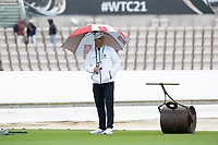 Unfortunately a familiar sight as Alex Wharf shelters and the start for day 5 is delayed during India vs New Zealand, ICC World Test Championship Final Cricket at The Hampshire Bowl on 22nd June 2021