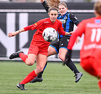 Sheila Broos (20) of Woluwe pictured fighting for the ball with Raquel Viaene (5) of Club Brugge during a female soccer game between Club Brugge Dames YLA and White Star Woluwe on the 12 th matchday of the 2020 - 2021 season of Belgian Scooore Womens Super League , saturday 30 January 2021  in Brugge , Belgium . PHOTO SPORTPIX.BE | SPP | DAVID CATRY