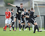 Janesboro players celebrate their late winning goal against Newmarket Celtic during their Munster Junior Cup semi-final at Limerick. Photograph by John Kelly.