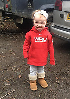 Pictured: Kiara Moore. (IMAGE TAKEN FROM PARENTS OPEN SOCIAL MEDIA PAGE)<br /> Re: The funeral of two year old Kiara Moore, who died after being recovered from a silver Mini car found in river Teifi in Cardigan will be held today (Tue 27 Mar 2018) at Parc Gwyn Crematorium, Narberth, west Wales.<br /> Kiara was taken at the University Hospital of Wales in Cardiff after being rescued but was pronounced dead.<br /> It is believed the car she was in, rolled down a slipway while her mother got out momentarily to get cash out of the family business premises.<br /> Her parents Jet Moore and Kim Rowlands have expressed their grief on social media.