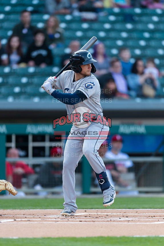 Columbus Clippers left fielder Brandon Barnes (9) during an International League game against the Indianapolis Indians on April 29, 2019 at Victory Field in Indianapolis, Indiana. Indianapolis defeated Columbus 5-3. (Zachary Lucy/Four Seam Images)