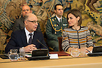 Cristobal Montor, Minister of Finance and Public Administration and Queen Letizia of Spain during the council meeting of the Royal Board on Disability at Zarzuela Palace in Madrid, October 05, 2015.<br /> (ALTERPHOTOS/BorjaB.Hojas)