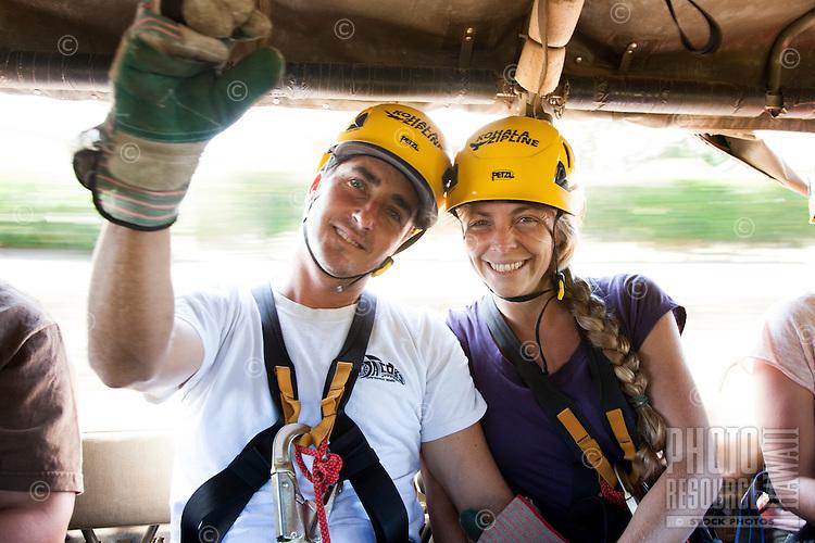 Couple riding up to go Ziplining on the Big island with Kohala zipline
