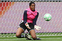 Goalkeeper Briana Scurry #1 of the Washington Freedom makes a save against the Los Angeles Sol during their inaugural match at Home Depot Center on March 29, 2009 in Carson, California.