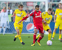 16 October 2010: Columbus Crew midfielder/forward Eddie Gaven #12 and Columbus Crew midfielder Robbie Rogers #18 battle with Toronto FC forward Maicon Santos #29  during a game between the Columbus Crew and Toronto FC at BMO Field in Toronto..The game ended in a 2-2 draw.