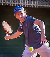 Hilversum, The Netherlands,  August 18, 2020,  Tulip Tennis Center, NKS, National Senior Championships, Men's  Single 40+,  Levien Rademaker (NED)<br /> Photo: www.tennisimages.com/Henk Koster