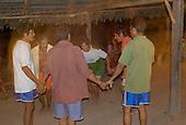 Pará State, Brazil. Aldeia Apyterewa (Parakana). Men dancing.
