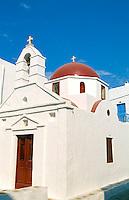 White church in Mykonos, Greece