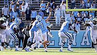 CHAPEL HILL, NC - NOVEMBER 14: Sam Howell #7 of North Carolina throws a pass during a game between Wake Forest and North Carolina at Kenan Memorial Stadium on November 14, 2020 in Chapel Hill, North Carolina.
