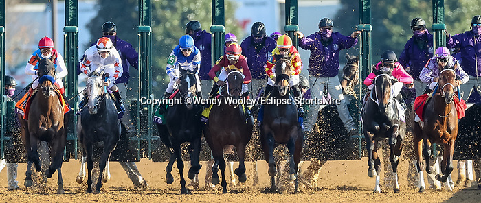 November 6, 2020: Horses race during the Juvenile Fillies on Breeders' Cup Championship Friday at Keeneland on November 6, 2020: in Lexington, Kentucky. Wendy Wooley/Breeders' Cup/Eclipse Sportswire/CSM