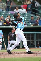 Gleyvin Pineda (18) of the  Inland Empire 66ers bats against the Stockton Ports at San Manuel Stadium on May 26, 2019 in San Bernardino, California. (Larry Goren/Four Seam Images)