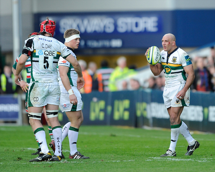 Andy Long of Northampton Saints during the LV= Cup Final match between Leicester Tigers and Northampton Saints at Sixways Stadium, Worcester on Sunday 18 March 2012 (Photo by Rob Munro, Fotosports International)