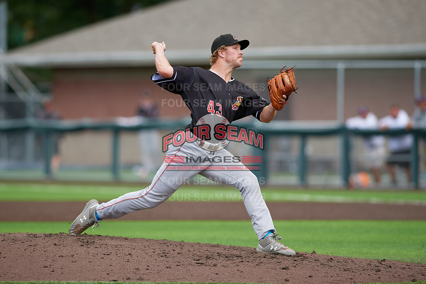 Batavia Muckdogs pitcher Joey Steele (43) during a NY-Penn League game against the Auburn Doubledays on September 2, 2019 at Falcon Park in Auburn, New York.  Batavia defeated Auburn 7-0 to clinch the Pinckney Division Title.  (Mike Janes/Four Seam Images)