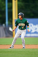Lynchburg Hillcats shortstop Yu-Cheng Chang (6) leads off second during a game against the Wilmington Blue Rocks on June 3, 2016 at Judy Johnson Field at Daniel S. Frawley Stadium in Wilmington, Delaware.  Lynchburg defeated Wilmington 16-11 in ten innings.  (Mike Janes/Four Seam Images)