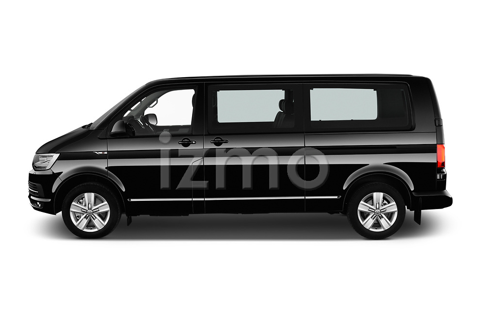 Car driver side profile view of a 2019 Volkswagen Caravelle Highline 4 Door Passenger Van