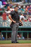 Umpire Jose Matamoros during a Texas League game between the Midland RockHounds and Frisco RoughRiders on May 21, 2019 at Dr Pepper Ballpark in Frisco, Texas.  (Mike Augustin/Four Seam Images)