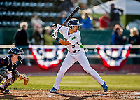 29 May 2021: Vermont Lake Monsters Infielder Caleb Jung, from La Mirada, CA, at bat against the Norwich Sea Unicorns at Centennial Field in Burlington, Vermont. The Lake Monsters defeated the Unicorns 6-3 in their FCBL Home Opener, the first home game played at Centennial Field post-Covid-19 pandemic. Mandatory Credit: Ed Wolfstein Photo *** RAW (NEF) Image File Available ***