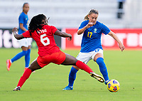 ORLANDO, FL - FEBRUARY 24: Deanne Rose #3 of Canada defends Andressinha #17of Brazil during a game between Brazil and Canada at Exploria Stadium on February 24, 2021 in Orlando, Florida.