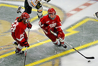 25 October 2008: Cornell University forward Rebecca Johnston, a Sophomore from Sudbury, Ontario, in action against the University of Vermont Catamounts at Gutterson Fieldhouse, in Burlington, Vermont. The Big Red defeated the Catamounts 5-1 to sweep their 2-game series in Vermont...Mandatory Photo Credit: Ed Wolfstein Photo