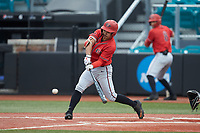 Matt Rudick (9) of the San Diego State Aztecs at bat against the UNCG Spartans at Springs Brooks Stadium on February 16, 2020 in Conway, South Carolina. The Spartans defeated the Aztecs 11-4.  (Brian Westerholt/Four Seam Images)