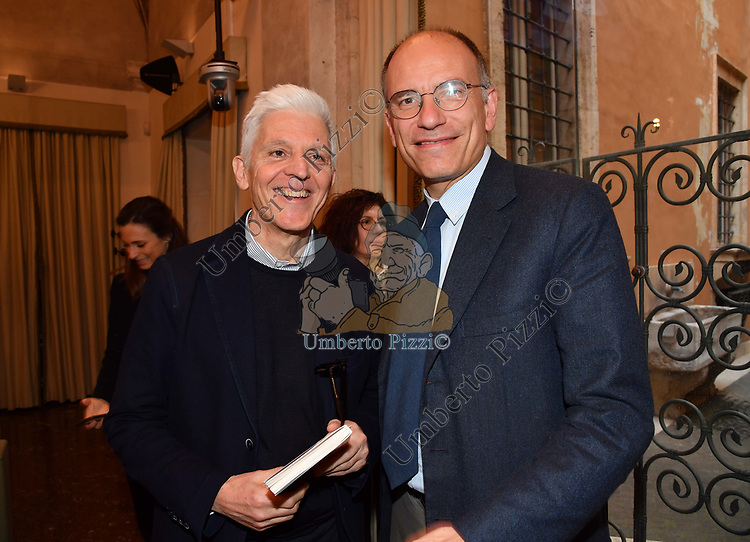 MASSIMO BRAY ED ENRICO LETTA<br /> PRESENTAZIONE LIBRO DI ENRICO LETTA ALLA TRECCANI ROMA 2019