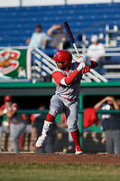 Williamsport Crosscutters second baseman Brayan Gonzalez (2) at bat during a game against the Batavia Muckdogs on June 21, 2018 at Dwyer Stadium in Batavia, New York.  Batavia defeated Williamsport 6-5.  (Mike Janes/Four Seam Images)