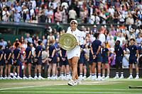10th July 2021. Wilmbledon, SW London England. Wimbledon Tennis Championships 2021, Ladies singles final Ashleigh Barty versus  Karolina Pliskova (Czech);  Ashleigh Barty (Aus) celebrates her win with the trophy