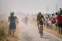 emerging from the dust on pavé sector #6<br /> <br /> Stage 9: Arras Citadelle > Roubaix (154km)<br /> <br /> 105th Tour de France 2018<br /> ©kramon