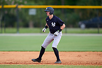 FCL Yankees Trey Sweeney (33) leads off second base during a game against the FCL Tigers West on July 31, 2021 at Tigertown in Lakeland, Florida.  (Mike Janes/Four Seam Images)
