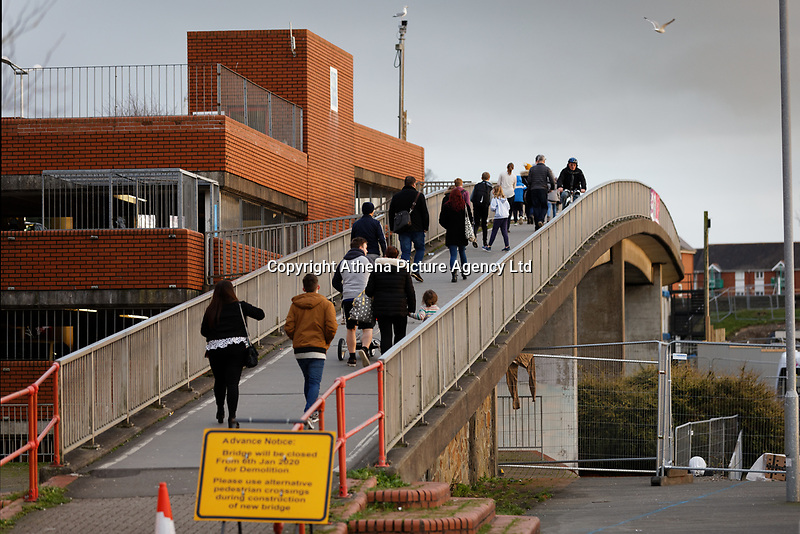 The footbridge connecting the city centre with the Leisure Centre over Oystermouth Road, which is due for demolition in Swansea, Wales, UK. Saturday 04 January 2019