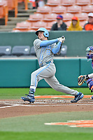 North Carolina Tar Heels shortstop Ike Freeman (8) swings at a pitch during a game against the Clemson Tigers at Doug Kingsmore Stadium on March 9, 2019 in Clemson, South Carolina. The Tigers defeated the Tar Heels 3-2 in game one of a double header. (Tony Farlow/Four Seam Images)