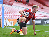 30th August 2020; Kingsholm Stadium, Gloucester, Gloucestershire, England; English Premiership Rugby, Gloucester versus Leicester Tigers; Ollie Thorley of Gloucester after scoring his third try