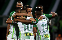 MEDELLIN - COLOMBIA - 02-03-2017: Los jugadores de Atletico Nacional celebran el gol anotado a Jaguares F.C., durante partido entre Atletico Nacional y Jaguares F.C.,, por la fecha 7 de la Liga Águila I 2017 jugado en el estadio Atanasio Girardot de la ciudad de Medellin. / The players of Atletico Nacional, celebrate a goal scored to Jaguares F.C., during a match between Atletico Nacional and Jaguares F.C., for the date 7 of the Aguila League I 2017 played at Atanasio Girardot stadium in Medellin city. Photo: VizzorImage / Luis Ramirez / Staff.