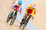 Anastasiia Voinova of the Russia team and Tania Calvo Barbero of the Spain team compete in the Women's Sprint - 1/16 Finals as part of the 2017 UCI Track Cycling World Championships on 13 April 2017, in Hong Kong Velodrome, Hong Kong, China. Photo by Chris Wong / Power Sport Images