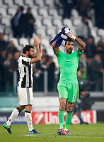Calcio, Champions League: Gruppo H, Juventus vs Lione. Torino, Juventus Stadium, 2 novembre 2016. <br /> Juventus' Andrea Barzagli, left, and Gianluigi Buffon greet  fans at the end of the Champions League Group H football match between Juventus and Lyon at Turin's Juventus Stadium, 2 November 2016. The game ended 1-1.<br /> UPDATE IMAGES PRESS/Isabella Bonotto