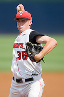 Relief pitcher Daniel Burawa #38 of the St. John's Red Storm in action against the VCU Rams at the Charlottesville Regional of the 2010 College World Series at Davenport Field on June 5, 2010, in Charlottesville, Virginia.  The Red Storm defeated the Rams 8-6.  Photo by Brian Westerholt / Four Seam Images