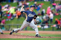Burlington Bees relief pitcher Jackson Zarubin (9) delivers a pitch during a game against the Great Lakes Loons on May 4, 2017 at Dow Diamond in Midland, Michigan.  Great Lakes defeated Burlington 2-1.  (Mike Janes/Four Seam Images)