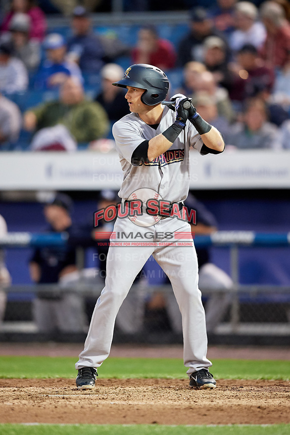 Scranton/Wilkes-Barre RailRiders designated hitter Bruce Caldwell (21) at bat during a game against the Syracuse Chiefs on June 14, 2018 at NBT Bank Stadium in Syracuse, New York.  Scranton/Wilkes-Barre defeated Syracuse 9-5.  (Mike Janes/Four Seam Images)