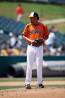 Bowie Baysox pitcher Luis Gonzalez (36) during an Eastern League game against the Binghamton Rumble Ponies on August 21, 2019 at Prince George's Stadium in Bowie, Maryland.  Bowie defeated Binghamton 7-6 in ten innings.  (Mike Janes/Four Seam Images)