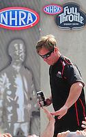 Aug. 7, 2011; Kent, WA, USA; NHRA funny car driver Mike Neff during the Northwest Nationals at Pacific Raceways. Mandatory Credit: Mark J. Rebilas-