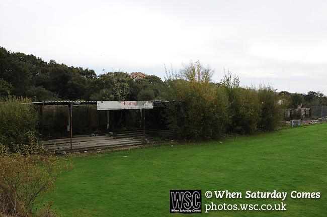"""The sadly decrepit ground """"The Firs"""" next door to Hastings Utd ground The Pilot Field, but more associated with St Leonards FC. Photo taken prior to Hastings Utd 3 Blackfield & Langley 0, 20/10/2012. FA Cup 4th Round Qualifying. Photo by Simon Gill"""