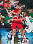 Louisiana Lafayette Ragin' Cajuns guard Nicole Morris (32) in action during the game between the Louisiana Lafayette Ragin' Cajuns and the University of North Texas Mean Green at the North Texas Coliseum,the Super Pit, in Denton, Texas. UNT defeats Louisiana Lafayette 78 to 40....