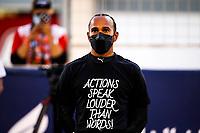 28th March 2021; Sakhir, Bahrain; F1 Grand Prix of Bahrain, Race Day; HAMILTON Lewis gbr, Mercedes AMG F1 GP W12 E Performance before Formula 1 Gulf Air Bahrain Grand Prix