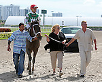 HALLANDALE BEACH, FL - JANUARY 30:  Cathryn Sophia #2, ridden by Joel Rosario, comes down the final stretch to win the 40th running of the Forward Gal Stakes (G2) at Gulfstream Park on January 30, 2016 in Hallandale Beach, Florida. (Photo by Liz Lamont)